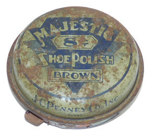 Scarce J.C. Penney Majestic Brown Shoe Polish Advertising Tin w/ Contents