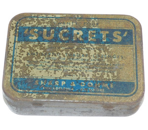 Shabby Vintage Sucrets Throat Lozenges Cough Drops Advertising Tin