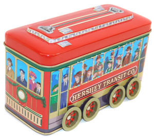 Vintage Hershey's Transit Co. Trolly Car Shaped Chocolate Candy Advertising Tin