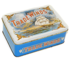 Vintage Enesco Trade Winds Tin with Clipper Ship Graphics