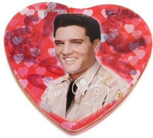 2005 Russell Stover Heart Shaped Candy Advertising Tin w/ Elvis Presley Graphics
