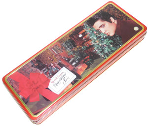 2000 Vintage Russell Stover Elvis Presley Christmas Candy Advertising Tin