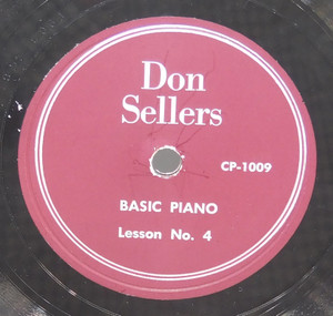 Don Sellers: Basic Piano Lessons 3 & 4 - 78 rpm Record