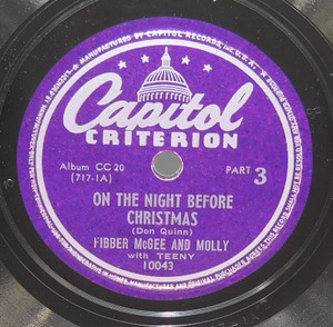 Fibber McGee and Molly: On the Night Before Christmas / 'Twas the Night Before Christmas - 78 rpm Record