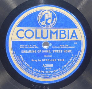 Sterling Trio: Dreaming of Home, Sweet Home / Campbell and Burr: Till We Meet Again - 78 rpm Record