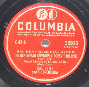 Hal Kemp & Orchestra: I've Got You Under My Skin / The Gentleman Obviously Doesn't Believe - 78 rpm Record