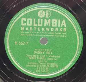 Eileen Farrell: The Rose of Tralee / Danny Boy - 78 rpm Record