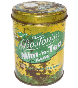 Shabby Vintage Boston's Mint-in-Tea Bags Advertising Tin Canister