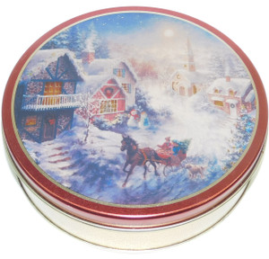 Vintage Vermont Country Store Hard Candy Mix Advertising Tin w/ Christmas Graphics