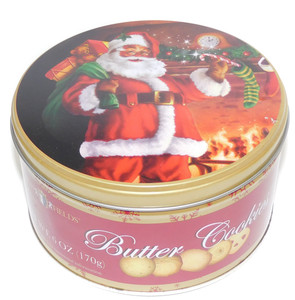 2009 Vintage Rich Fields Butter Cookies Advertising Tin w/ Santa Christmas Trees