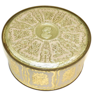 Vintage Mid-Century Guildcraft Round Tin Canister w/ Gilt Embossed Floral Graphics