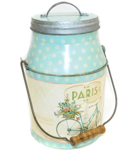 Vintage Milk Can Shaped Tin Canister w/ Paris Bicycle Graphics & Wood Handle