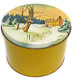 Vintage Large Metal Tin Canister w/ Winter Carriage & Country House Scene on Lid