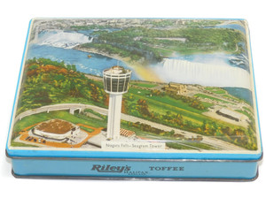 Vintage Riley's Toffee Candy Advertising Tin Niagara Falls Seagram Tower Scene