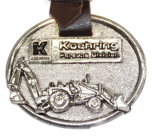 Vintage Koehring Parsons Division Advertising Pocket Watch Fob w/ Backhoe