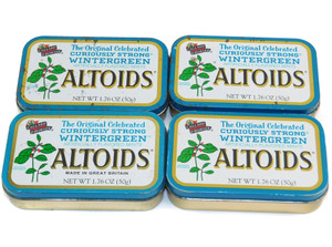 Lot of 4 Wintergreen Altoids Metal Advertising Tin Can in Various Conditions