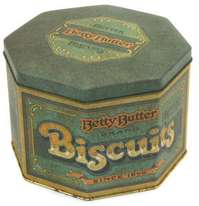 Vintage Betty Butter Better Biscuits Octagon Advertising Cookie Tin England