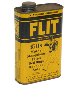 Vintage Stanco Flit Insecticide Advertising Tin 1 Pint Can w/ Soldier Graphics