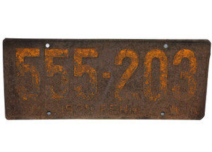 1925 Antique Pennsylvania Keystone State License Plate - PA Tag #555-203