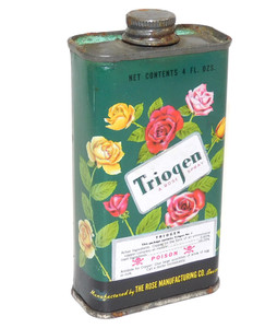 Vintage Triogen Rose Spray Advertising Tin Flower Insecticide Poison Can