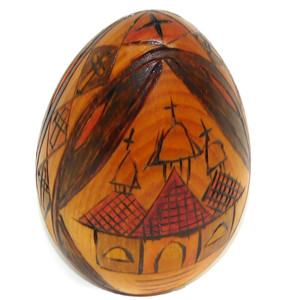 Vintage L. Lomax Signed Carved Wooden Folk Art Egg w/ Church & Religious Designs