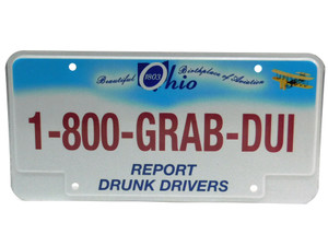 Ohio State Trooper 1-800-GRAB-DUI Police License Plate Report Drunk Drivers