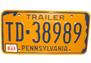 1971 Pennsylvania Trailer License Plate PA - #TD-38989