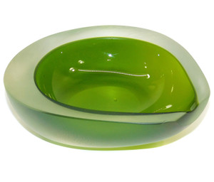 Vintage Unsigned Thick Avocado Shaped Iridescent Art Glass Bowl