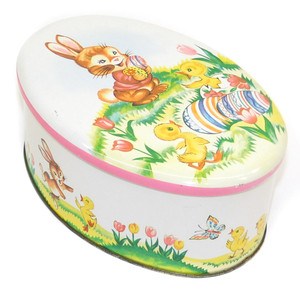 Vintage Egg Shaped Candy Tin w/ Easter Bunny & Chicks Graphics by Daher