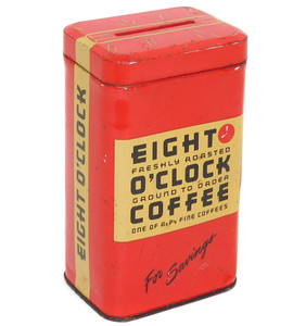 Vintage A&P Eight O'Clock Coffee Can Figural Tin Advertising Dime Bank