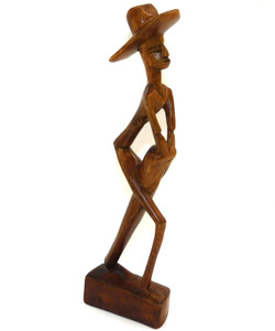Vintage Abstract Wood Folk Art Carving of Man in Hat Playing Conga Drum
