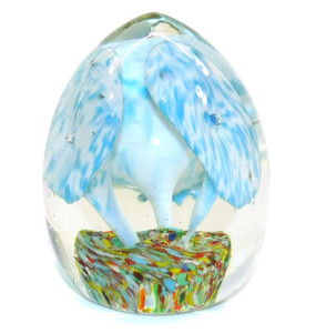 Vintage Egg Shaped Art Glass Paperweight w/ Jack in the Pulpit Flowers