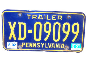 2001 Pennsylvania State Trailer License Plate - Tag #XD-09099
