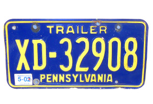 2002 Pennsylvania State Trailer License Plate - Tag #XD-32908