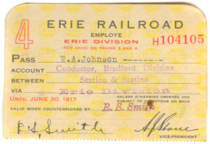 1917 Erie Railroad Conductor Station to Station Train Pass