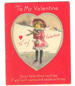 1920's Valentine Card With Little Girl Figure Ice Skater