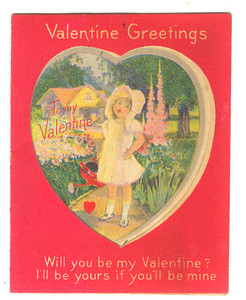 1921 Little Girl in Bonnet With Watering Can & Flowers Valentine Card