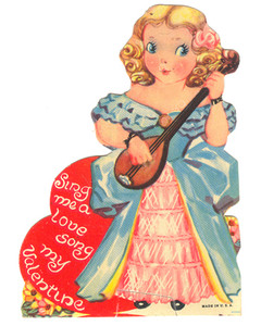 1930's Girl With Lute or Mandolin Valentine's Day Card