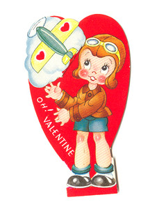 1930's Little Girl Pilot and Airplane Valentine