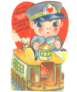 1940's Ferry Boat Captain Expandable Valentine Card