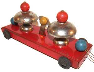 Old Tin Pull Toy With Two Bells Unsigned