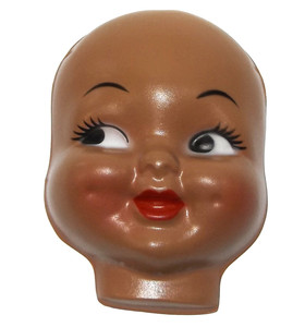 """Vintage NOS Celluloid Plastic Black Baby Doll Face Doll Head for Cloth Doll or Crafting - 4 3/4"""""""