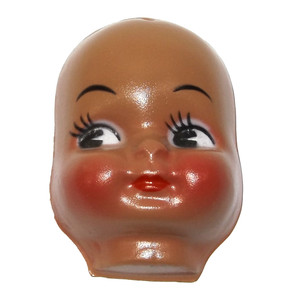 """Vintage NOS Celluloid Plastic Black Baby Doll Face Head Hong Kong for Cloth Doll or Crafting - 3"""""""