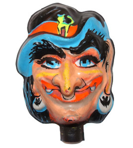 Vintage NOS Celluloid Plastic Scary Halloween Witch Shaped Baby Doll Face Head for Crafting