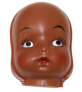 """Vintage NOS Plastic Black Face Doll Head for Cloth Doll or Crafting - 4 1/2"""""""