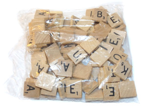 Vintage NOS Full Set Replacement Scrabble Wood Board Game Tiles / Letters for Crafting Projects