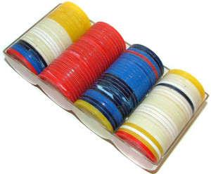 Lot of Assorted Marbelized Plastic Poker Chips in Case