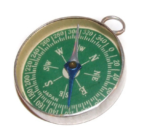 Vintage Child's Toy Aluminum Compass Made in Japan