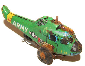 Vintage Tin Lithographed US Army Friction Toy Helicopter Japan