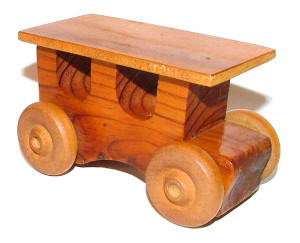 Vintage Handmade Retro Wooden Model T Type Toy Car